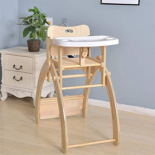 Safe high chair Safety 1st Wooden Highchair, Adjustable Baby Highchair with Detachable Tray, 6 Months-10 Years,Woodcolor Easy to Assemble Dining Chair (Color : Woodcolor)