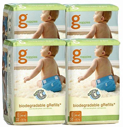 gDiapers ANGEBOT: 4 Pakete à 32 biologisch abbaubare Windeln - M/L/XL - zu 100% kompostierbar - GRATIS VERSAND