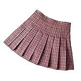 N\P Las mujeres plisadas faldas de cintura alta de las mujeres mini falda dulce delgado señoras faldas cortas verano niñas falda a cuadros