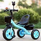 GCXLFJ Triciclo Bebe Triciclo triciclos niños con Cuba de Almacenamiento, Estructura del triángulo de Seguridad, Triciclo for niños del niño de Edad 2-6 años, Azul (Color : Blue)
