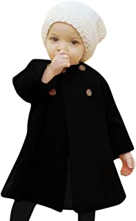 Toddler Baby Girls Classic Button Decor Wind Coat,Suitable for 0-4 Years,Winter Warm Jacket Cloak Tops Clothing Set