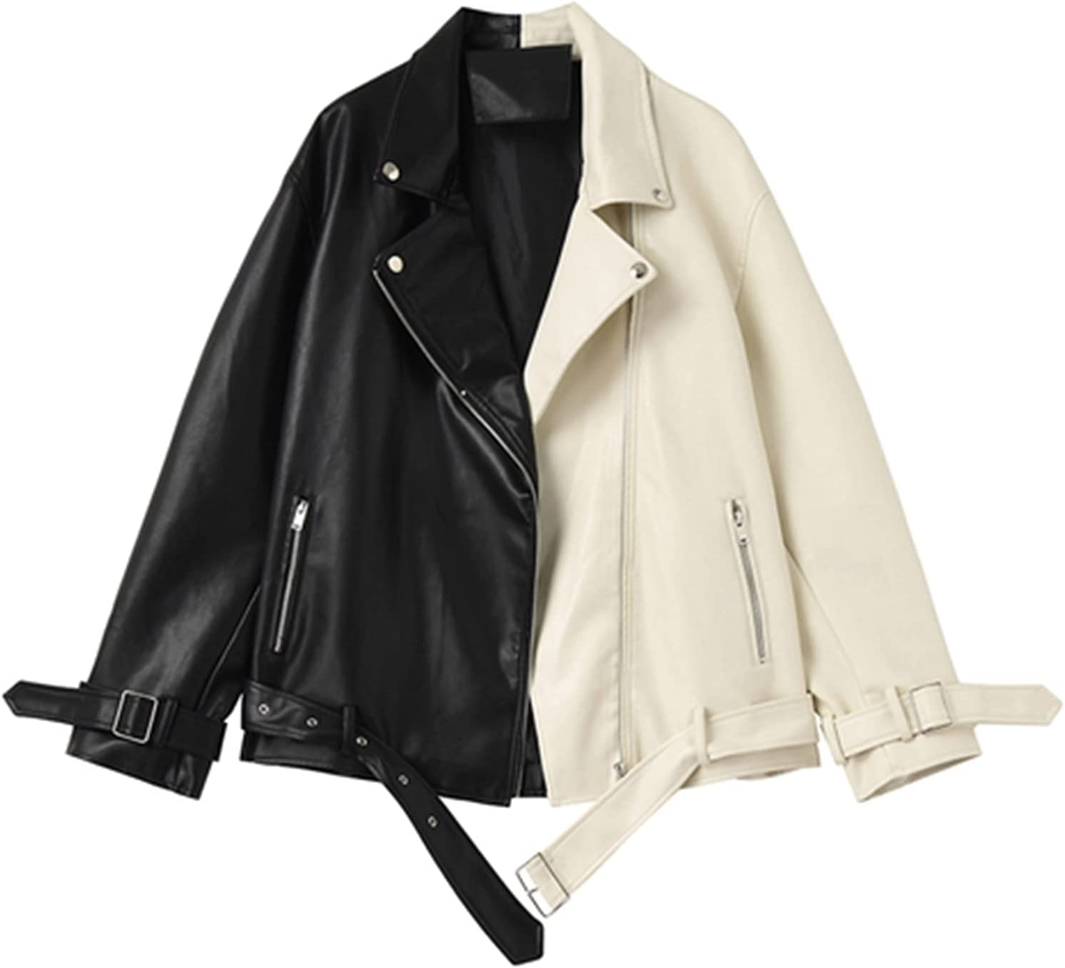 Spring Autumn Lapel Splicing Pu Leather Industry No. 1 L Max 45% OFF Soft Women Jacket Faux