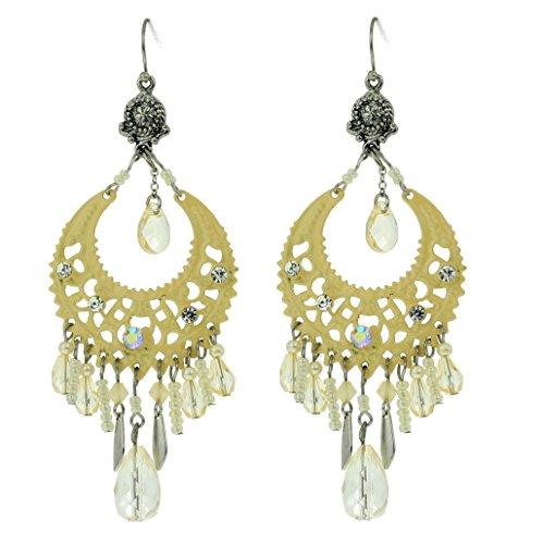 Behave Chandalier oorbellen voor dames met kristallen steentjes, metaallegering, wit, maat 9 cm