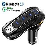 Transmisor FM Bluetooth 5.0, Manos Libres para Coche Carga rápida Inalámbrico Reproductor MP3 Coche, Adaptador de Radio con Siri Google Asistente, 3 USB 5V/2.4A & PD3.0 for Tipo C