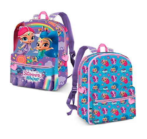 Karactermania Shimmer and Shine Rainbow-Reversible 2-in-1 Backpack (Small) Kinder-Rucksack, 31 cm, 7.5 liters, Blau (Blue)