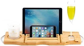 竹製の木製バスタブキャディトレイ、延長可能なアーム、ステンレススチールアーム付きのベッドトレイ、調整可能なブックホルダーとワインIpad電話用スロット、滑り止め、45〜85 cm
