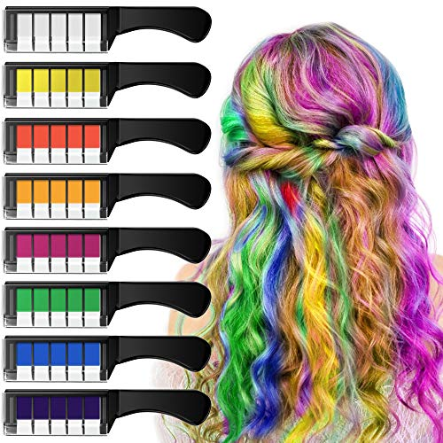 EZCO Haarkreide, Temporär Haarfarbe Kreide Kamm 8 Stück für Kinder Mädchen,Colorful Professional Waxy für Karneval, Party, Weihnachten Halloween Geburtstag