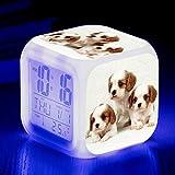 W-JIUJIA Perro Lindo Perro Alarma de Mascotas 7 Color LED LED Digital Alarma Reloj de Alarma para niños Cumpleaños Luz de Noche Luz electrónica Reloj .79
