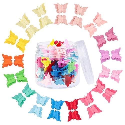 XCOZU Schmetterling Haarspangen, 50 Stück Mini Haarklammern Haarclips Stifte Klemmen Haarschmuck, Klein Haarklauenclips mit Box für Kinder Mädchen und Damen, Über 14 Farben