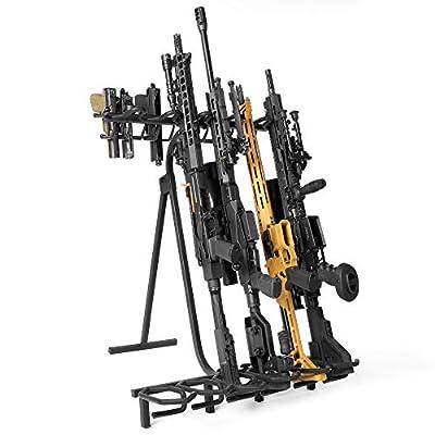 "Savior Equipment Mobile Firearm Rack Tactical 6 Rifle Shotgun Free-Standing Gun Display Storage 8 Pistol Rack - Heavy Duty Steel, Foldable Design, Fit Most Firearms Longer Than 31"" in Length"