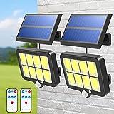 T-SUN, luz de pared inalámbrica alimentada por panel solar, dividida, 6000K, IP65 a prueba de agua, detector de movimiento, luz solar para jardín exterior con control remoto, 2 Packs