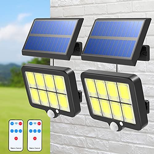 Lot de 2 Lumière Solaire Extérieure avec Détecteur de Mouvement T-SUN 160 LED Lampe Solaire Jardin avec Télécommande étanche IP65 Applique Murale Solaire pour jardin Lumières de Sécurité Solaire