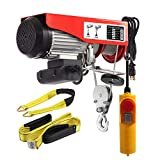Partsam 880 lbs Lift Electric Hoist Crane Remote Control Power System, Zinc-Plated Steel Wire Overhead Crane Garage Ceiling Pulley Winch w/Straps (w/Emergency Stop Switch)