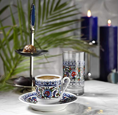 Kütahya Porzellan TOPKAPI Edles Mokka, Espressoservice bestehend aus 6 Tassen und Untertassen aus Porzellan, dekoriert, 12