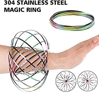 Stainless Steel Firm Flow Ring Magic Bracelet Toy for Stress Relief Kinetic Science Educational Spring Ring Multi - Sensor...