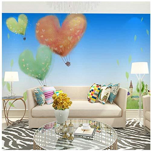 Fotobehang, klantspecifieke cartoon ballon hemel landschap aquarel schilderij behang, wandsticker, slaapkamer, woonkamer, tv-achtergrond, 3D, HD Home decoratie, wandschilderij 450(w)x300(H)cm