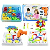 3D Drill Puzzle Construction Toys-Kids montessori Board Games 3D Puzzle Peg Board Building Blocks Tools Take Apart Creative Mosaic Drill Set,Educational Toys for 3 4 5 Year Old Boys Girls (193Pcs)