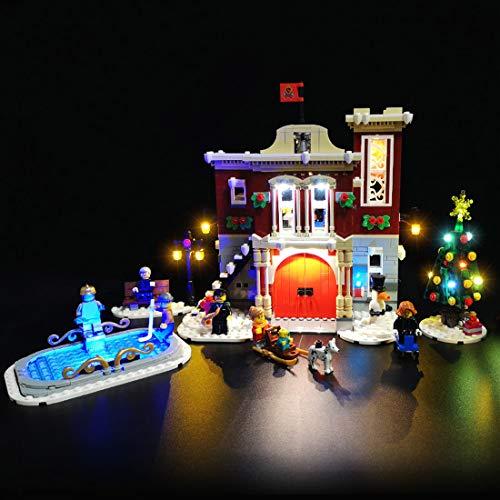 POXL Kit de luces LED alimentadas por batería para estación de bomberos Lego Winter Village 10263, no incluye el modelo