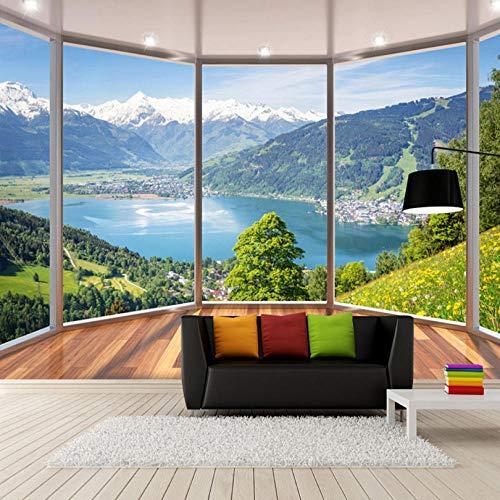 fototapete 3d effekt Benutzerdefinierte 3D Wandbild Tapete Moderne Kreative Balkon Französisch Fenster Natur Landschaft Fototapeten Wohnzimmer Schlafzimmer Wohnkultur