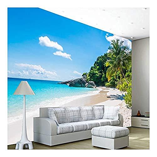 Relovsk fotobehang strand, tropische boom, zee oceaan, fotobehang, wandschilderij voor thuis, slaapkamer, decoratie 250 cm x 175 cm.