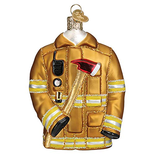 Old World Christmas Firefighter's Coat Blown Glass 2020 Unique Christmas Ornaments for Christmas Tree Decorations