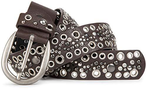 styleBREAKER Nietengürtel mit Lochnieten und Strass im Vintage Style, Nieten Gürtel, kürzbar, Damen 03010026, Farbe:Dunkelbraun, Größe:80cm