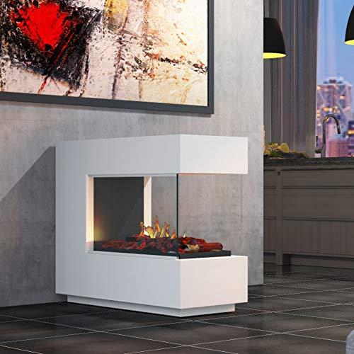muenkel design loft.line - C-02 Raumteiler [Design Opti-myst Elektrokamin mit Festwasseranschluss]: Reinweiß (warm) - Mit Heizung - Dekoholz mit Stehrost (gerade) - mit Scheibe