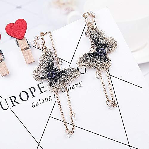 Arete Mujer Chica Pendientes de Perlas Bordado Mariposa Cristal Borla Larga Pendientes Colgantes Joyas