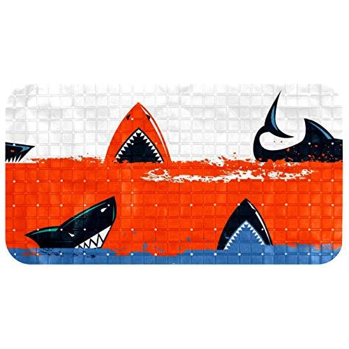 DEYYA Bath Tub Shower Mat Dangerous Sharks in Stripes Prints Non-Slip Bathtub Mats Soft Bathroom Showermat BPA and Latex Free 14.7x26.9 inches for Baby and Adults Machine Washable