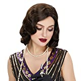 STfantasy Finger Wave Wig 1920s Retro Mid Length Long Curly Synthetic Hair for Women Cosplay Halloween Party Costume (Brown)