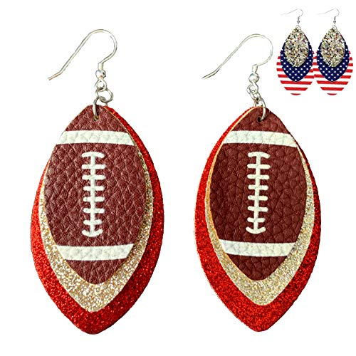 Football Earrings for Women - Football Soccer Fan Accessories - Rugby Earrings Sports - 3-Layered Leather Dangle Statement Earrings - American Football - Faux Leather - Mall of Style (Silver & Red)