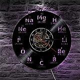 GVC 1 Pieza Elemento químico Tabla periódica Reloj de Pared iluminación Silueta luz de Pared LED luz de Fondo Regalo para químico Estudiante Maestro