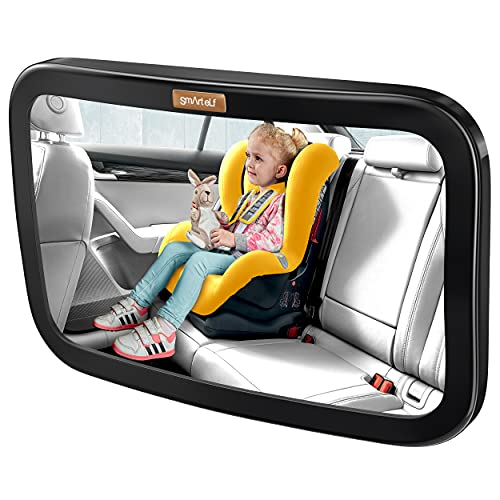 Smart eLf Baby Car Mirror, Large Safety Car Seat Mirror for Rear Facing Infant Child with Wide Crystal Clear View, Shatterproof & Secure, Crash Tested and Certified for Safety - Essential Accessories