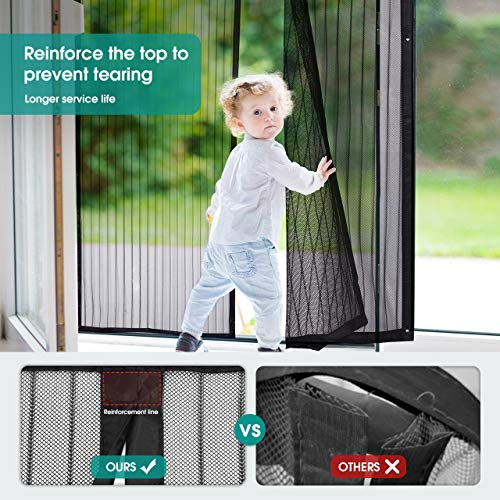Homitt Magnetic Screen Door with Heavy Duty Mesh Curtain and Full Frame Hook&Loop, Hands Free,  Pet...