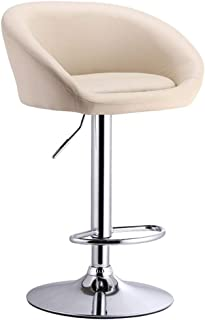 LXJYMX Bar Stool Leather Kitchen Breakfast bar Stool with backrest Adjustable Height Strong Chrome Plate Base for Kitchen Counter Rotating bar Stool (Color : White)