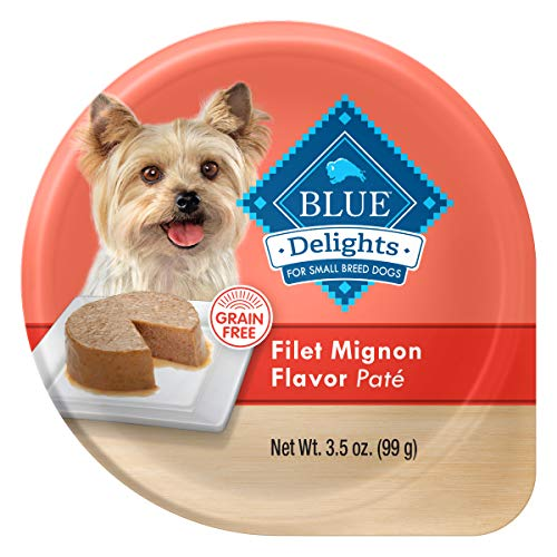 Blue Buffalo Delights Natural Adult Small Breed Wet Dog Food Cup, Filet Mignon Flavor in Savory Juice 3.5-oz (Pack of 12)