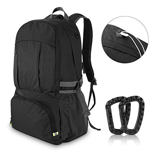 AIRSSON Hiking Travel Backpack Lightweight Foldable Waterproof 40L With Reflective Strip and Survival Whistle for Men Women