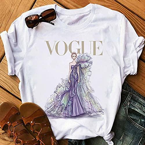 XCLWL Camiseta De Mujer Harajuku Camiseta Estética Femenina Vogue Estampado Ropa De Manga Corta Moda Princesa Camisetas-P2679-7_S