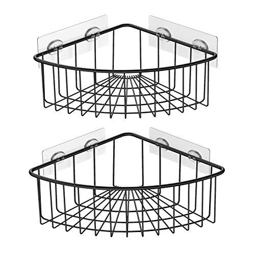 SMARTAKE 2-Pack Corner Shower Caddy Deep Basket Design SUS304 Stainless Steel Wall Mounted Bathroom Shelf with Adhesive Storage Organizer for Toilet Dorm and Kitchen Bronze