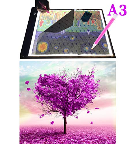WUXINGMEILI DIY 5D Diamond Painting Full Drill with Ultra-Thin Portable A3 LED Light Pad Light Board Box Kits for Adults Kids (Love Tree Diamond Painting Kits)