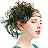 BABEYOND 1920s Flapper Peacock Feather Headband Roaring 20s Beaded Showgirl Headpiece 1920s Great Gatsby Costume Hair Accessories (Blue & Green)