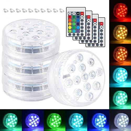 Ibello - Luz LED sumergible para piscina, 4 unidades, impermeabilidad IP68, multicolor con mando a distancia para acuario, bañera o jardín