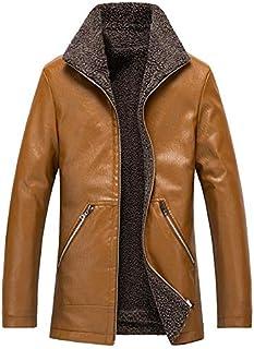 HAWEEL Men Casual Lapel Warm Leather Coat Windbreaker Jacket