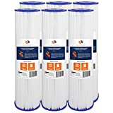 Aquaboon 5 Micron 20' Big Blue Pleated Sediment Water Filter Replacement Cartridge   Whole House Sediment Filtration   Compatible with ECP5-BB, AP810-2, HDC3001, CP5-BB, SPC-45-1005, ECP1-20BB, 6-Pack