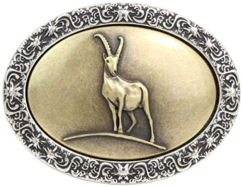 Brazil Lederwaren Gürtelschnalle Steinbock 4,0 cm   Buckle Wechselschließe Gürtelschließe 40mm Massiv   für Trachten-Outfit   bicolor s/g