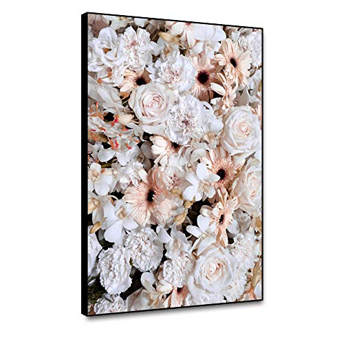 Lienzo de peonía blanca de Miueapera, sin marco, diseño de flores de naturaleza muerta y naturaleza impresión hermosa flor decoración para sala de estar, cuarto de baño, comedor, 30,5 x 45,7 cm