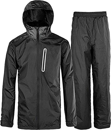 Rain Suit Gear Coat for Men Waterproof Hooded Rainwear Jacket & Trouser Black