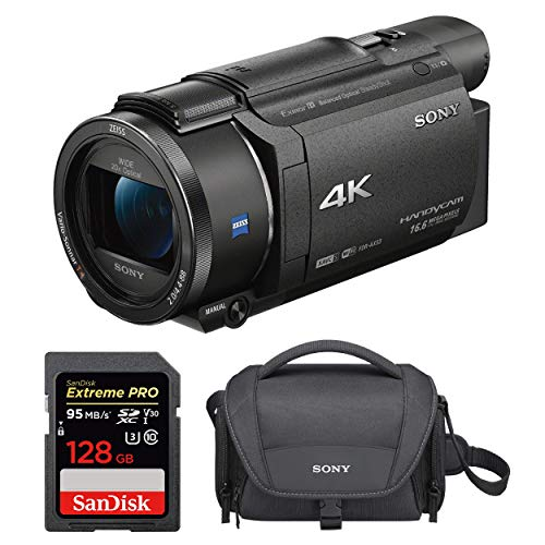 Sony FDRAX53/B 4K HD Video Recording Camcorder with 128GB Card and Case Bundle (3 Items)