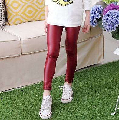 Leileixiao Pantalones de piel para niños y niñas, para primavera, otoño, color negro, ajustados, para niñas, (color: rojo, talla 6T)