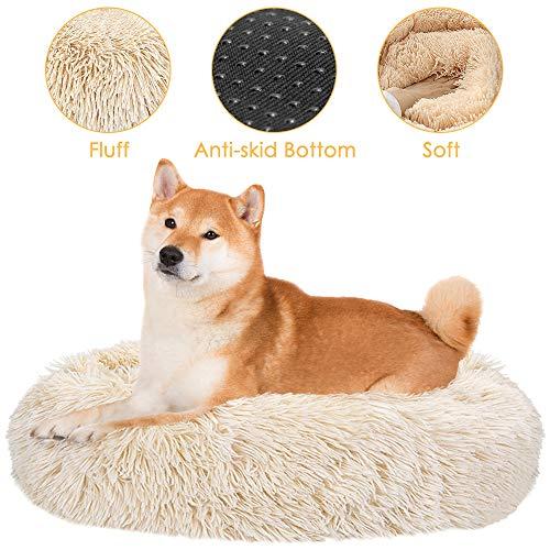 SlowTon Haustierbett Schöne Tierbett Hundesofa Katzensofa Kissen, Donut-Kuschelnest Warmes weiches Plüsch (XL (Durchmesser 80CM), Khaki)